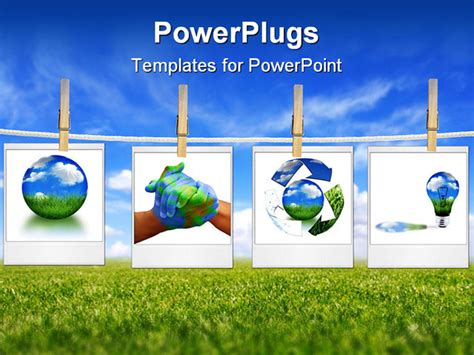 Powerpoint Template Four Depictions Related To Nature And Environment Green Lifestyle Globe Green Energy Powerpoint Template