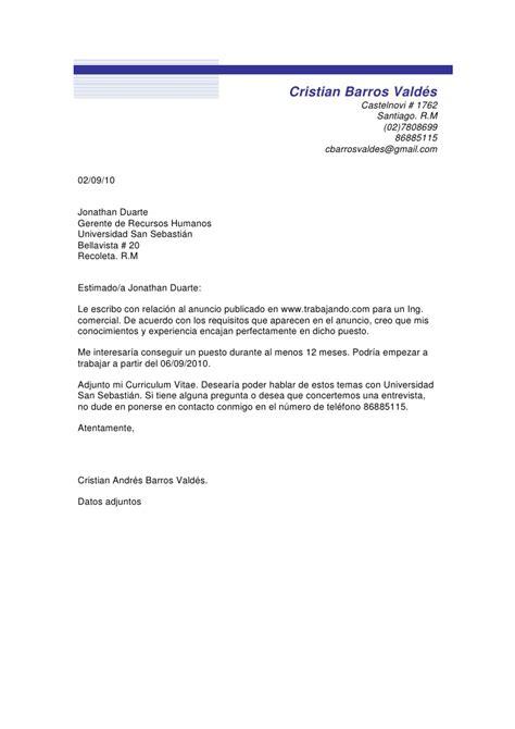 Modelo De Carta De Presentacion Para Un Curriculum Vitae Carta De Presentacion