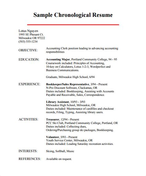 chronological order template chronological resume 9 sles exles format
