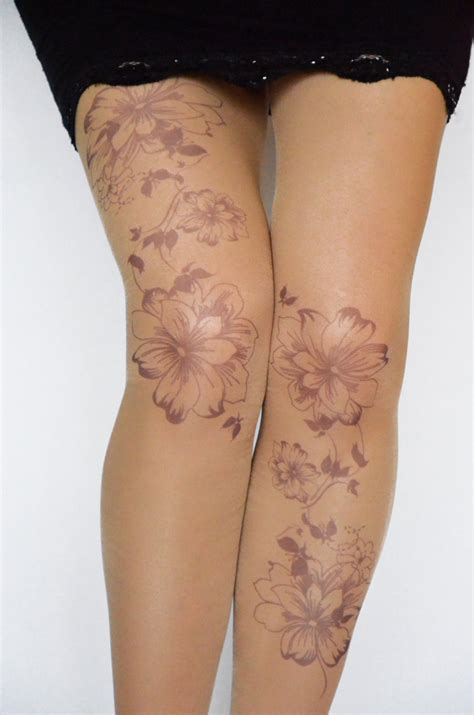 tattoo cover up veins tattoo tights with flowers print handprinted womens