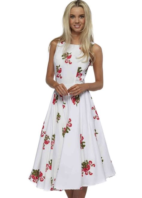 swing tea dress antica sartoria white rose print tea dress with swing skirt