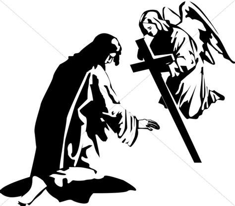 jesus prays   garden   angel jesus clipart