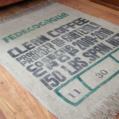 burlap coffee bag rug tutorial craft ideas