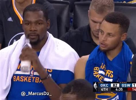 kevin durant benching kevin durant steph curry chatting on the bench gfycat