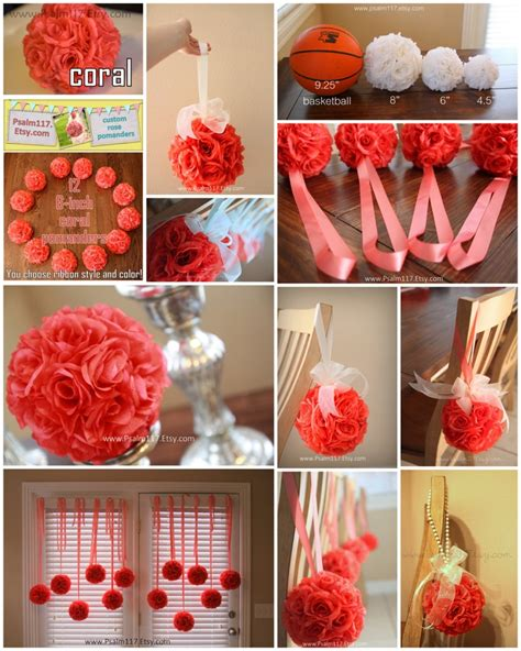 6 6 inch wide coral wedding pomanders you choose ribbon color receptions glass