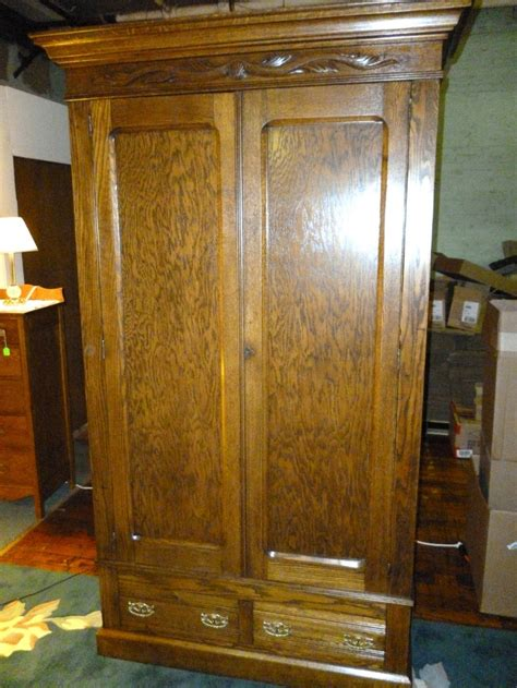 antique oak armoire wardrobe antique oak wardrobe armoire w drawers shelves