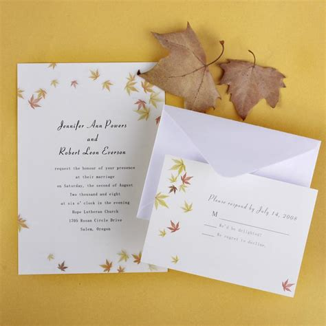 Cheap Fall Wedding Invitations ivory and yellow maple leaves fall affordable wedding