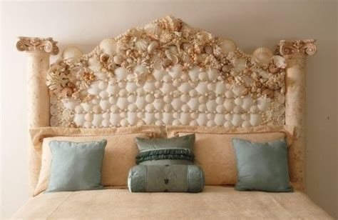 seashell headboard beautiful shell headboard beach house pinterest