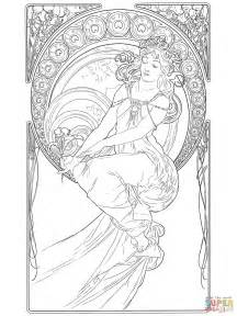 Alphonse Mucha Coloring Pages painting by alphonse mucha coloring page free printable