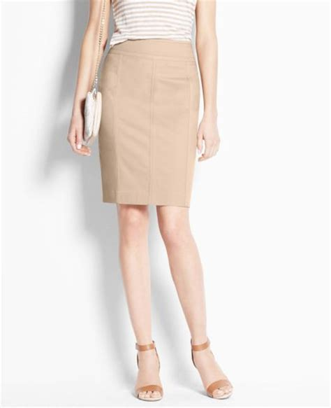 stretch twill pencil skirt in khaki