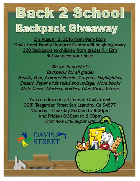 Backpack Giveaway 2017 - back 2 school giveaway is this saturday davis street