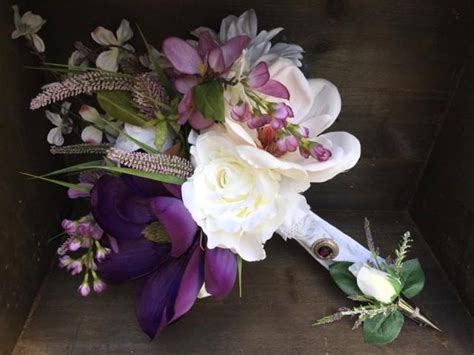 gorgeous rustic silk purple and white magnolia and orchid