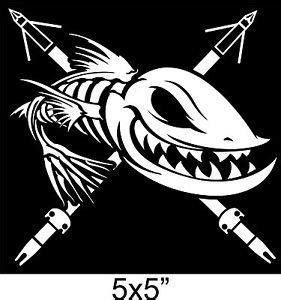 boat bow decals bowfishing sticker arrows fish skeleton bones zombie bow