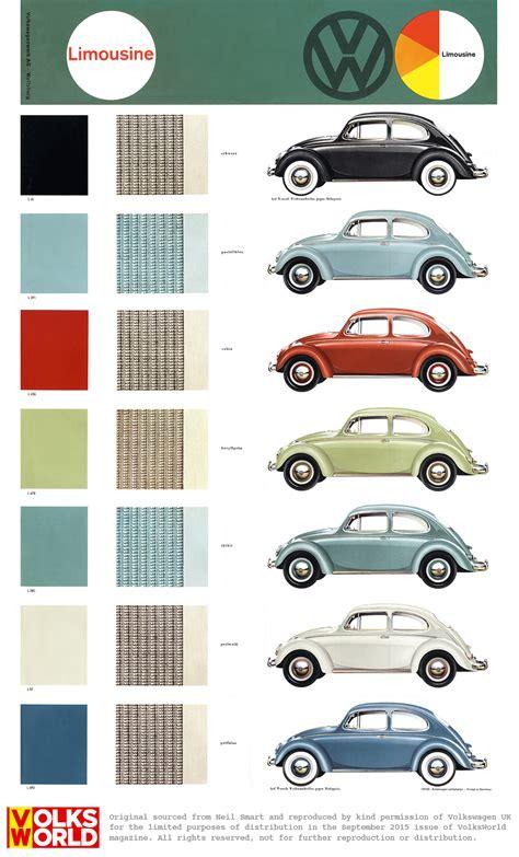 volkswagen beetle colors vw beetle colour charts vw bug collector pinterest