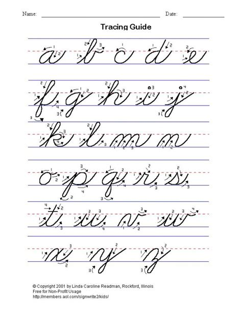 Free Cursive Writing Worksheets by Practice Cursive Writing The Alphabet Lower And
