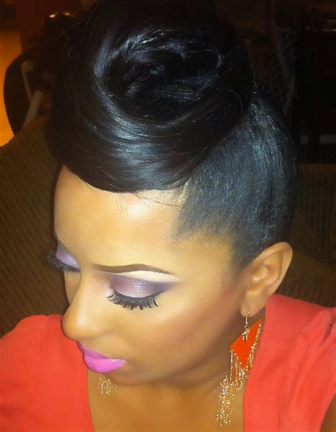 Easy Hairstyles For Black With Hair by 15 Ideas Of Updo Hairstyles With Bangs For Black Hair