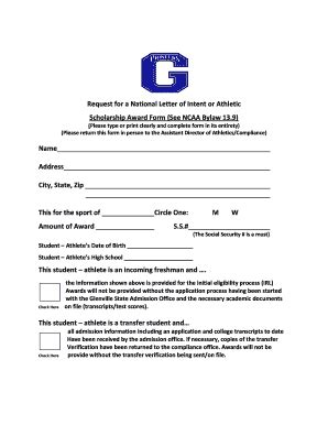 Letter Of Award Vs Letter Of Intent Scholarship Award Letter Template Forms Fillable