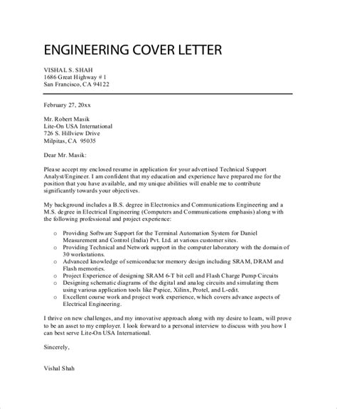 cover letter template engineering 8 sle professional cover letters sle templates