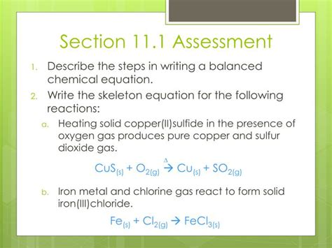 section 11 1 describing chemical reactions practice problems ppt chapter 11 chemical reactions powerpoint