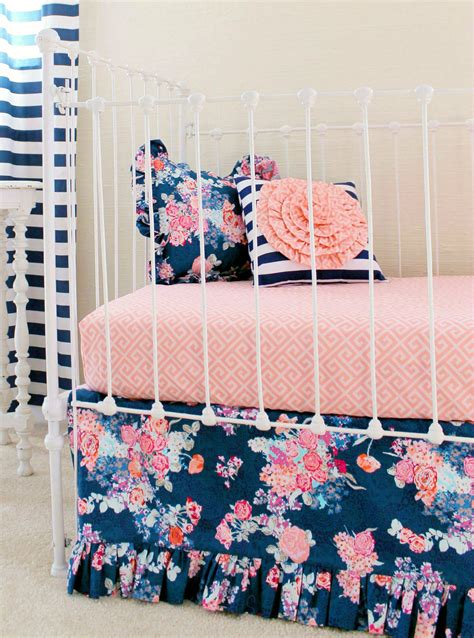 navy and coral baby bedding navy floral crib bedding baby girl bedding coral and navy