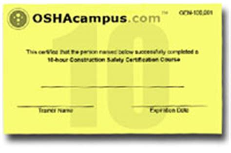 osha 10 card template osha 30 expiration