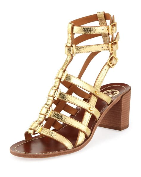 burch gladiator sandals burch reggie gladiator city sandal gold in gold lyst