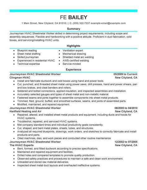 Sheet Metal Worker Sle Resume by Best Journeymen Hvac Sheetmetal Workers Resume Exle Livecareer