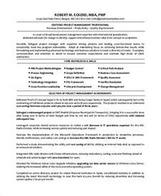 Project Management Resume Exles by Sle Project Manager Resume 8 Exles In Word Pdf