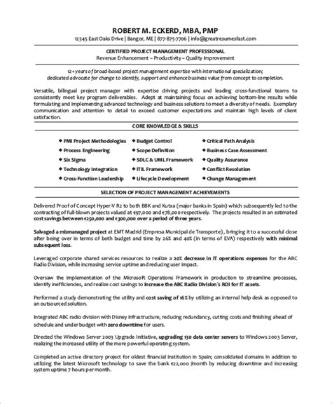 project manager resume template word sle project manager resume 8 exles in word pdf