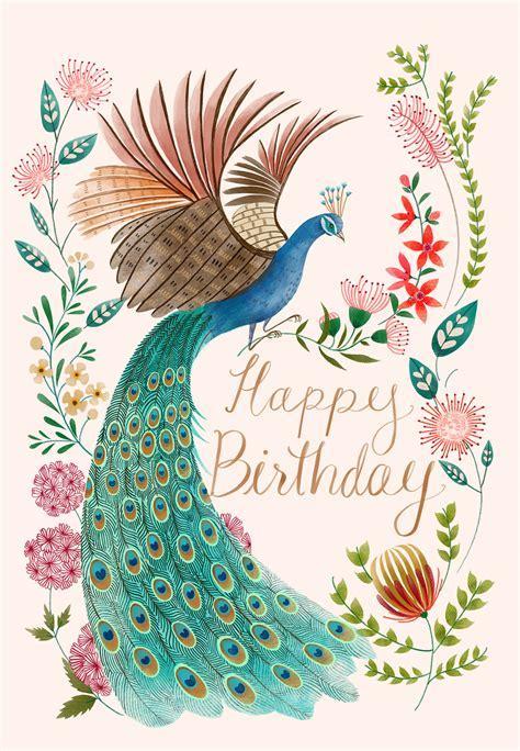 Peacock & flowers   Birthday Card (free)   Greetings Island