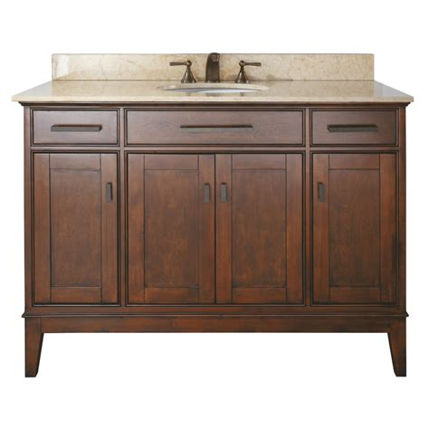 48 inch single sink bathroom vanity in tobacco finish with