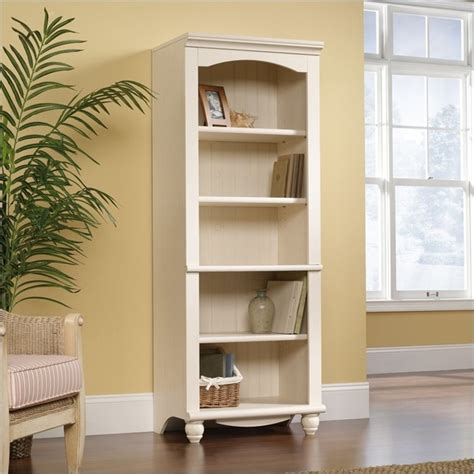 Sauder Harbor View Bookcase Sauder Harbor View Library 5 Shelf Bookcase In Antiqued White Finish Transitional Bookcases