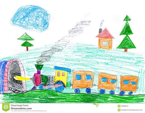 Subway Gift Card To Steam - steam train goes to the subway child s drawing stock photos image 33038073