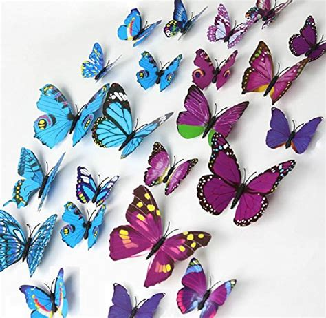 blue 12 pcs 3d butterfly elecmotive 12 pcs purple 12 pcs blue 3d butterfly