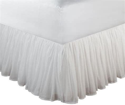 white bed skirts greenland home fashions cotton voile 18 inch white bed