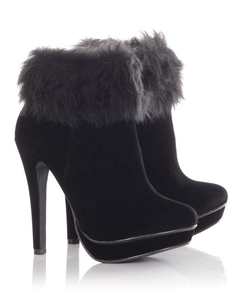 blue inc womens fur cuffed ankle boot shoes deal ebay