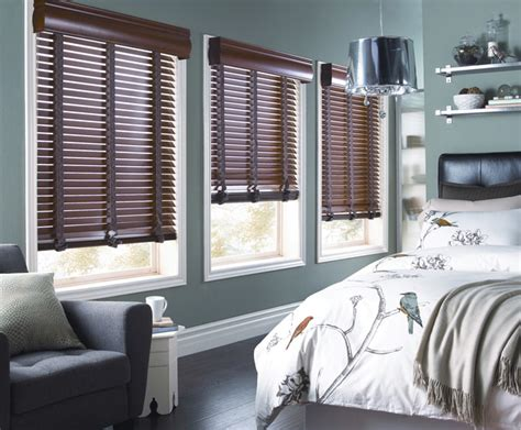 horizontal wood blinds for the bedroom contemporary