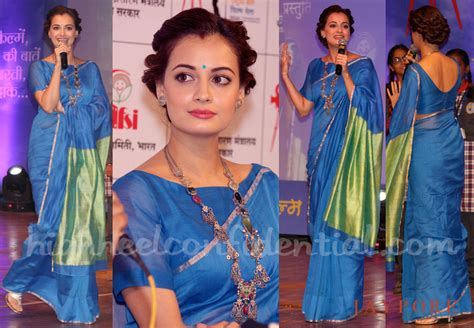 Sania Kid Blue dia mirza is perfection in this blue sari the style