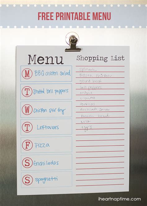 free printable grocery list with menu free printable menu for summer i heart nap time