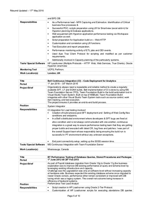 best performance testing resume loadrunner 1 photos resume sles writing guides for all