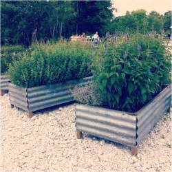 recycled corrugated metal raised beds garden