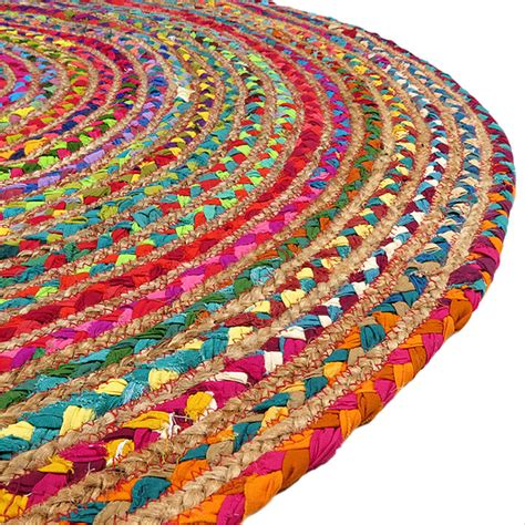 Round Colorful Jute Rug Jute Rugs Eyes Of India Colorful Rugs