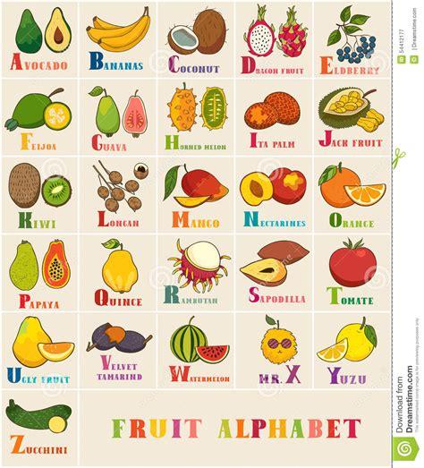 colors a to z ensemble d alphabet et de vecteur de fruit illustration de