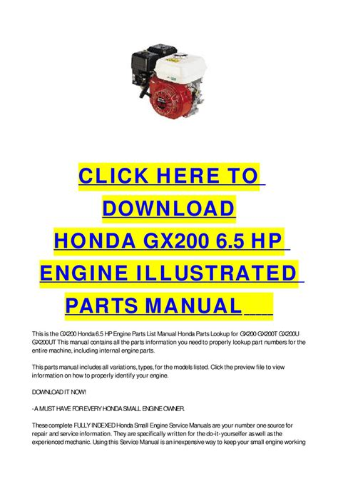 small engine repair manuals free download 1994 honda prelude electronic throttle control issuu honda gx200 6 5 hp engine illustrated parts manual by cycle soft
