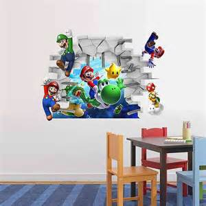 home boys room super mario wall stickers decals new bros wii for