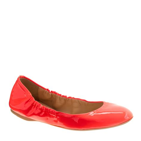 neon flats shoes j crew patent ballet flats in neon persimmon lyst