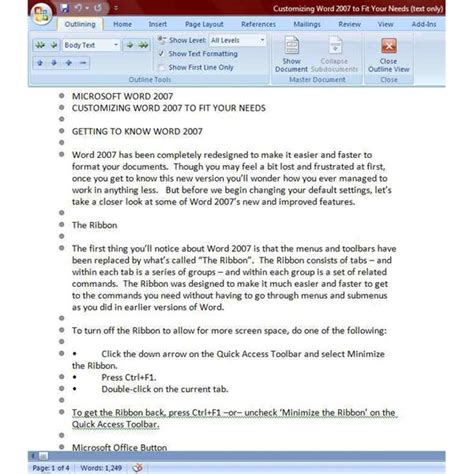 Microsoft Word 2007 Outline by Outline Template For Microsoft Word 2007