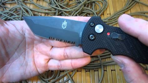 gerber model  automatic knife review youtube