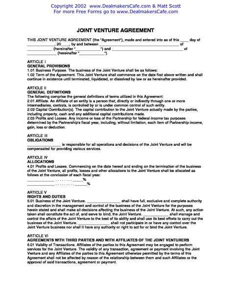 Agreement Letter For Joint Venture doc 460595 joint venture agreement doc joint venture