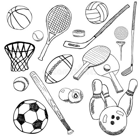 item doodle draw sport balls sketch set with baseball bowling